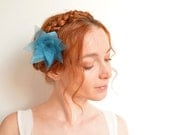 Teal blue flower hair clip - organza lotus