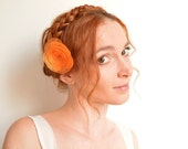 Neon orange organza flower barrette - peony