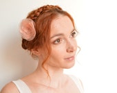 Romantic peach bridal flower hair clip - peony