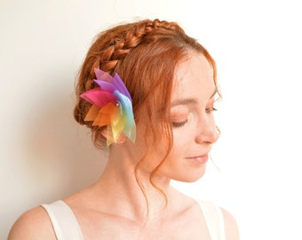 Rainbow organza flower hair clip - wedding lotus barrette