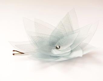 Gray organza flower bobby pin - lotus