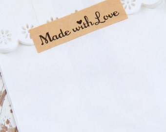 20 Made with Love kraft paper stickers