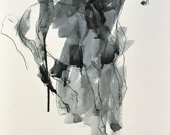Original Fine Art, Galloping Horse Black Ink Drawing, Equine Art, Contemporary Art, Modern Art