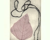 Original Etching Printmaking Mixed Media Dry Leaf Collage BLENDING Fine Art Print Abstract Wall Decor Print 10x8