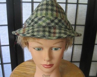 Vintage Plaid Wool Hat Trilby Fedora 1960s 1970s Blue Gray Green Brown Black Tweed By LL Bean 7-1/4 7.25 22.5 Inch Checkerboard