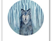 WOLF PRINT / Woodland Wolf Illustration / Birch Forest Wolf Art