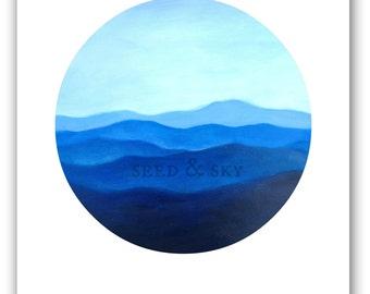 BLUE MOUNTAINS PRINT / Blue Ridge Mountains Illustration / Adventure Blue Print