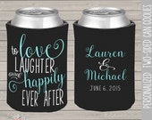 wedding party can coolies,  coozies for wedding bachelor parties love laughter happily ever after can coolies wedding