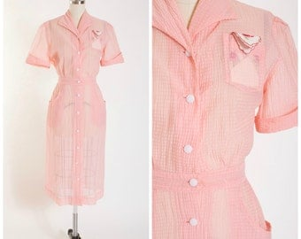 40s Vintage Dress • Here With Me • Pink Waffle Nylon Uniform Vintage 1940s Diner Dress Size Small