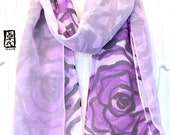 Double Layered Silk Chiffon Scarf Reversible, Hand Painted Purple and Black Roses Scarf, Holiday Gift, Silk Scarves Takuyo, 8x54 inches.