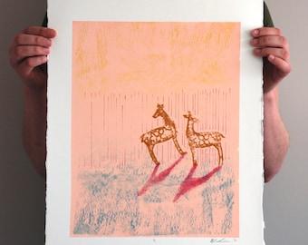 Deer No 2 - Abstract Silkscreen Print - 11x14