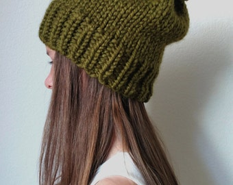 Knit ski slouchy hat - with / without Pom Pom - The ANCHORAGE - More colors available