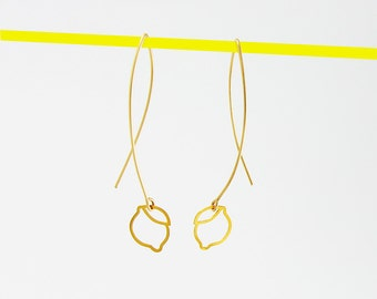 Gold Earrings Lemon Earrings Dangle Earrings Leaf Earrings Fruit Earrings