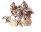 Berber Tribal Brooch Pendant Red Coral Old Coins Silver