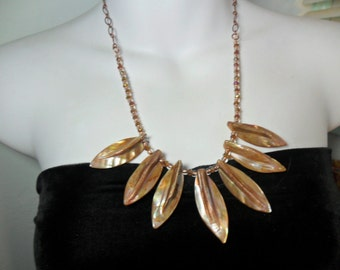 Shell Leaf Statement Necklace - Complimentary Shipping in The U.S. - by Chicartistique