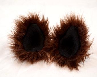 Brown Ears Clip On in Faux Fur