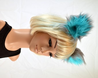 Cheshire Cat Inspired Clip On Ears in Blue and Gray Faux Fur