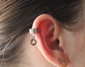 All star ear cuff, Silver star ear cuff, Non pierced ear cuff, No piercing earring, Cartilage earring, cartilage ear cuff, Cute star earring