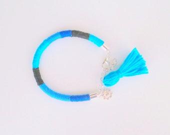 Color Block Rope Bracelet with Tassel