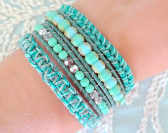 Beaded Wrap Bracelet With Dark Turquoise Leather and a Button Clasp - Shades of Teal