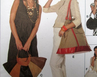 Boho Hobo Bag satchel tote bag drawstring purse slouchy shoulder bag sewing pattern fabric bags top handle new uncut Burda 7684