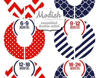Closet Dividers, Assembled, Baby Closet Dividers, Closet Organizers, Boy, Girl, Navy, Red, Nautical, Baby Gift, Nursery, Stocking Stuffer