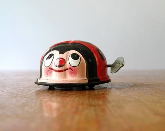 Vintage Tin Wind Up Ladybug Toy - Japan