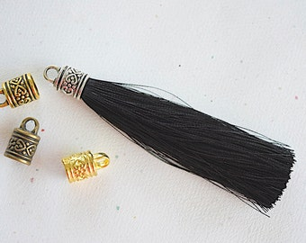 Black Silky Tassel Pendant -90mm- Assorted Tassel Cap Finishes - Handmade Jewelry Supply - 1 Piece (SK296)