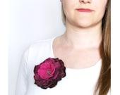 Purple brooch Large flower violet  brooch Soft hand felted floral rose pin Multicolor accessory Floral brooch