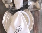 Rachael Monogrammed Napkins, Embroidered Cloth Dinner Napkins /Set of 4/ cotton napkins, custom napkins, script monogram, wedding napkins
