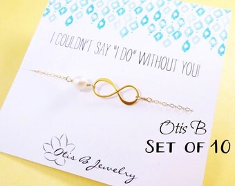 Bridesmaid Gift Set of 10: Ten Bridesmaid cards with gold infinity bracelet, Bridesmaid gifts, Bridesmaid jewelry gift sets