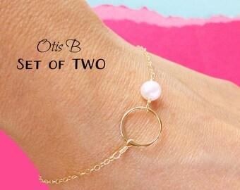 Set of TWO 2 Eternity bracelets, sterling silver bracelets, pearl bracelets, Bridesmaid gifts, adjustable bracelets, karma jewelry,