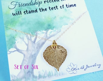 Bridesmaid gift Set of SIX Gold leaf necklaces, real leaf neckalce for bridesmaid gifts, fall wedding, bridesmaid cards, friendship jewelry