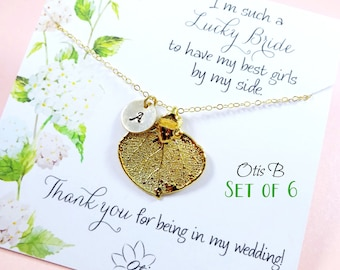 Wedding jewelry gifts Set of SIX: Gold leaf necklaces on message cards, Personalized Bridesmaid gifts, fall wedding, thank you, real leaf