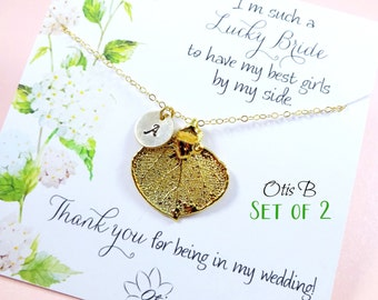 Set of TWO Personalized Gold leaf necklaces on message cards, Bridesmaid gifts, fall wedding, Bridesmaid thank you, real leaf jewelry