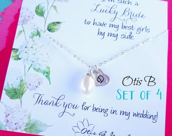 Bridesmaid jewelry set of FOUR, freshwater pearl necklaces with initials, Personalized silver bridesmaid gifts, gold initial necklaces,