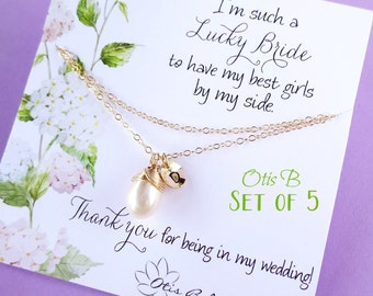Bridal jewelry Gift set of 5: Be my Bridesmaid card & pearl necklace sets, double layer, personalized bridesmaid gifts, bridal party jewelry