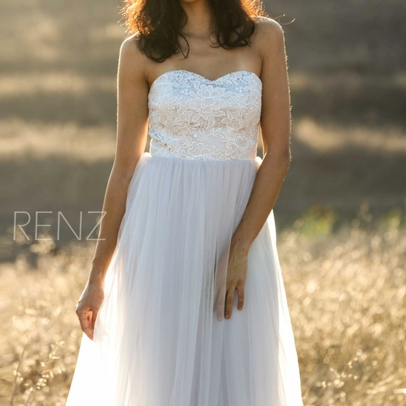 Light grey bridesmaid dress off white lace strapless wedding for Light grey wedding dress
