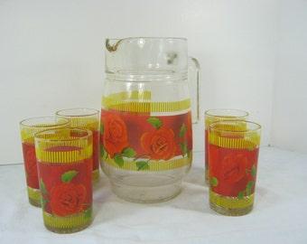 Vintage RED ROSE JUICE Pitcher & Tumbler Glass Tumbler Roses Kitchen Glassware