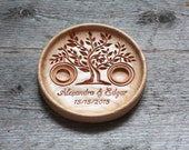 "Personalized Wood Wedding Ring Bearer Pillow, Ring Bearer Pillow, Wedding ring plate, Ring bearer pillow alternative ""Life Tree"""
