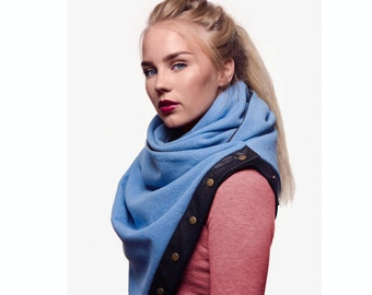 SUPER SALE Winter wool scarf, long wrap scarf with snaps, unisex