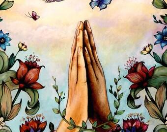 namaste  prayer beads art print