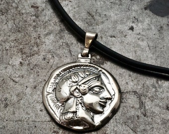 Ancient Greek Coin Necklace, Goddess Athena Sterling Silver Pendant Ancient Greek Coin Inspired Replica Unisex Necklace, Men Greek Jewelry
