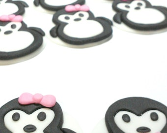 Penguin, Wedding, Love, Birthday, Homecoming, Personalized, Edible Fondant, Cupcake or Cookie Toppers