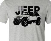 Jeep T-Shirt-4 Wheel Drive-4 door-Wrangler T-Shirt in Athletic Heather Grey