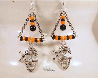 Pirate Halloween Earrings, Day Of The Dead Earrings, Black and Orange Earrings, Beaded Dangle Pierce Earrings. CKDesings.us