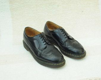 Vintage Dr. Martens Black Leather Wingtip Oxford Shoes, Made in England, mens UK 10, US 11