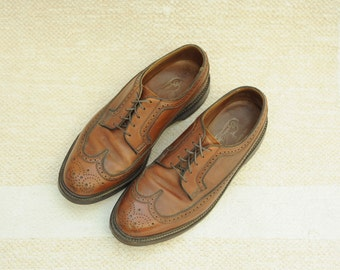 Vintage Florsheim Imperial Brown Leather Wingtip Oxford Shoes, mens 10 1/2