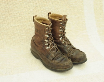 Vintage Field and Stream Union Made Brown Leather Rare, Mens 9 1/2 / ITEM130