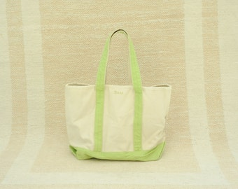 Vintage GH Bass Natural and Green Canvas Tote Bag